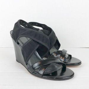 Stuart Weitzman black wedge sandals NWOB size 9